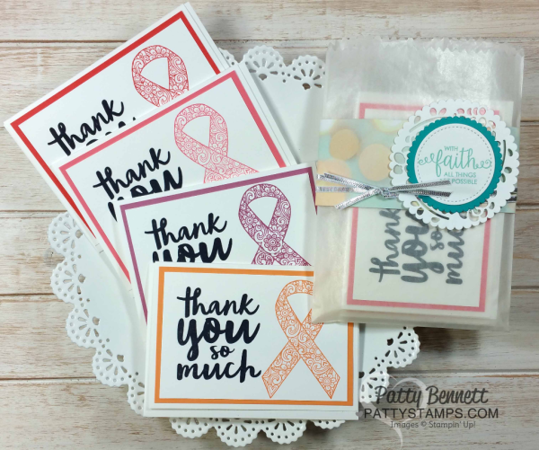 Ribbon of Courage thank you note card stamp set samples by Patty Bennett from onstage San Diego Stampin' Up! Event April 2017