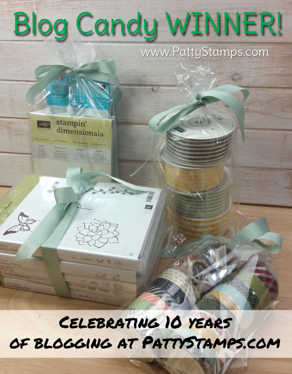 10 years blogging blog candy winner pattystamps stampin up