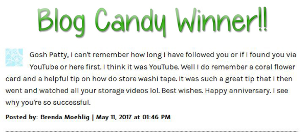 10 years blogging candy winner pattystamps stampin up patty bennett
