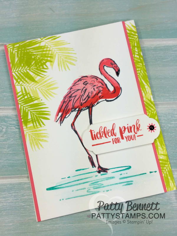 Fabulous Flamingo Stampin' Up! card idea by Patty Bennett featuring the fun new Lemon Lime Twist In Color