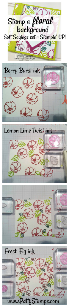 How to stamp the Soft Sayings background for the Card ideas for the Lovely Words thinlit dies from Stampin' Up! featuring Berry Burst and Lemon Lime Twist - new 2017-2019 In Colors. Cards by Patty Bennett