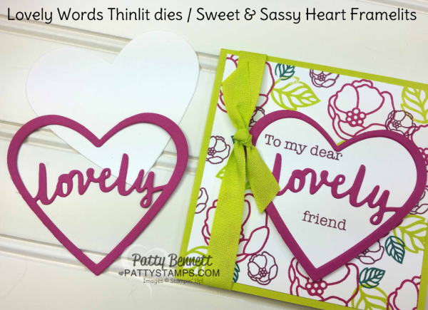 Card ideas for the Lovely Words thinlit dies from Stampin' Up! featuring Berry Burst and Lemon Lime Twist - new 2017-2019 In Colors. Cards by Patty Bennett