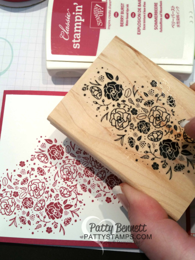 Stamping with the Wood Words flower stamp for the Card ideas for the Lovely Words thinlit dies from Stampin' Up! featuring Berry Burst and Lemon Lime Twist - new 2017-2019 In Colors. Cards by Patty Bennett