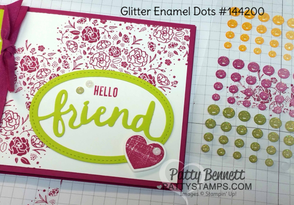 Glitter Enamel dots are the perfect accent for the Card ideas for the Lovely Words thinlit dies from Stampin' Up! featuring Berry Burst and Lemon Lime Twist - new 2017-2019 In Colors. Cards by Patty Bennett