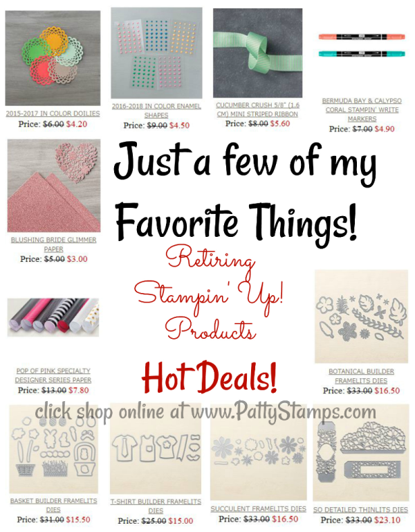 Retiring sale products from Stampin UP! - click shop online at www.PattyStamps.com
