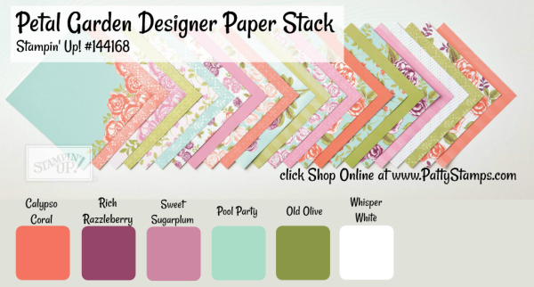 144168 Petal Garden Paper stack from Stampin Up - available online with  pattystamps.com