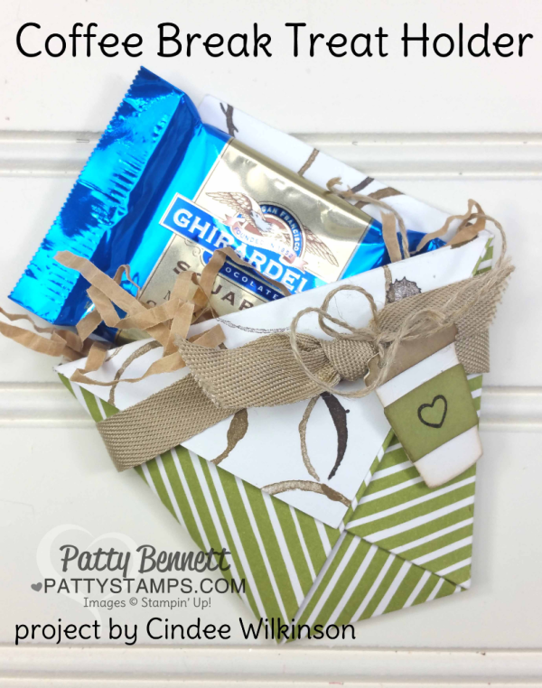 Coffee Break Ghirardeli chocolate treat holder from one 6x6 piece of paper! By Cindee!