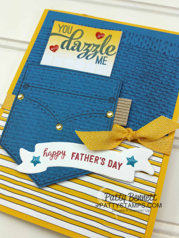 Great Guy Card featuring Pocketful of Sunshine stamp and framelit bundle from Stampin' Up!, and Burlap background stamp, by Patty Bennett at www.pattystamps.com