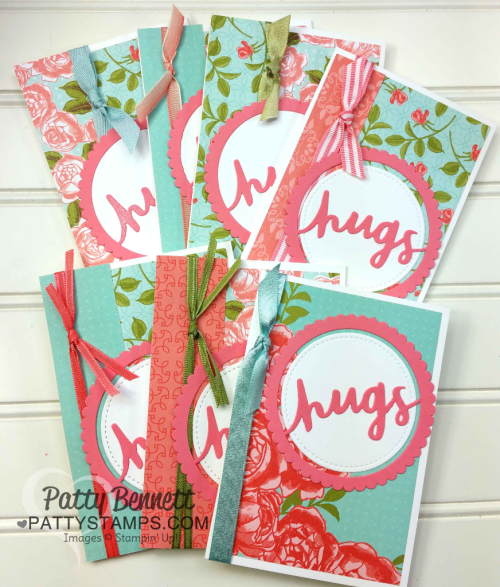 """Petal Garden paper stack note cards with Stampin' Up! Lovely Words thinlit """"hugs"""" die cut, by Patty Bennett at pattystamps.com"""
