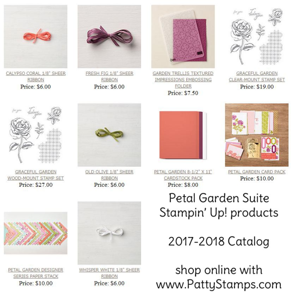 Shop the Petal Garden suite of products from Stampin' UP! including paper stack, ribbon, embossing folder, Graceful Garden stamp set, and cardstock pack