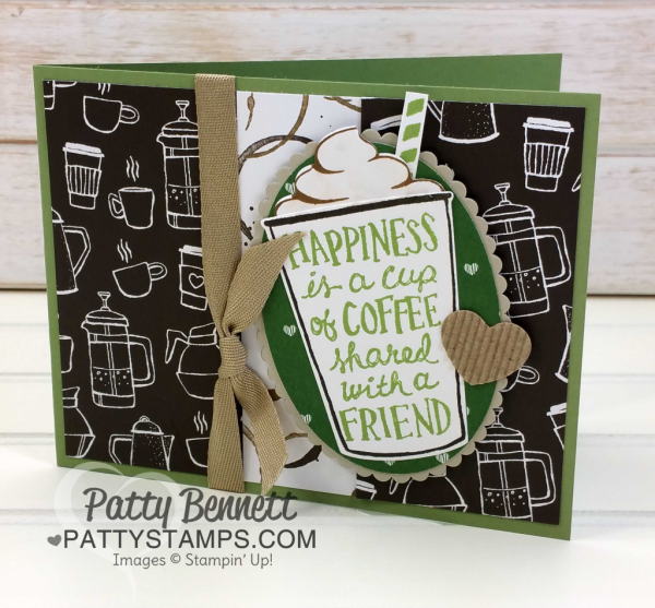Fun Side-Fold Coffee Cup card idea featuring the Stampin' Up! Coffee Break Suite, paper, stamps and Coffee Cup framelits by Patty Bennett at pattystamps.com