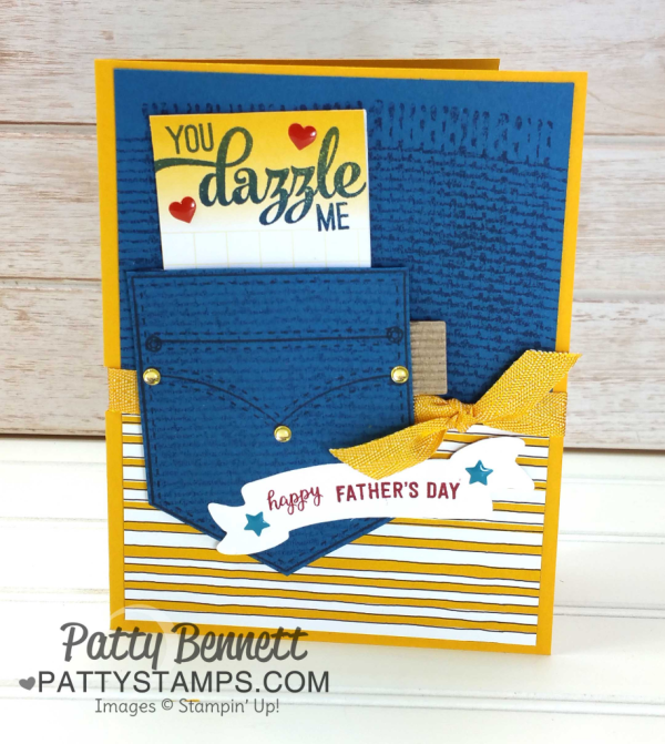 Great Guy Card idea featuring Pocketful of Sunshine stamp and framelit bundle from Stampin' Up!, and Burlap background stamp, by Patty Bennett at www.pattystamps.com
