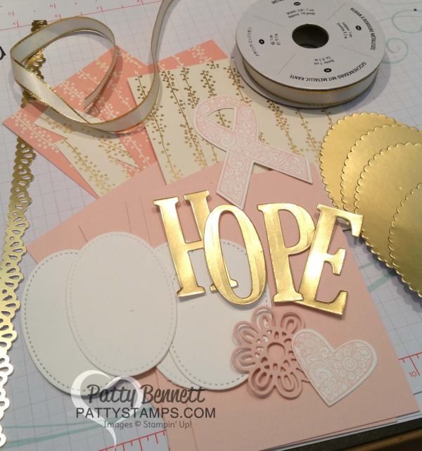 Supplies for Ribbon of Courage HOPE fold out banner featuring Stampin' Up! Ribbon of Courage bundle and Bundle of Love specialty designer paper with Gold Foil Large Alphabet framelit letters. By Patty Bennett