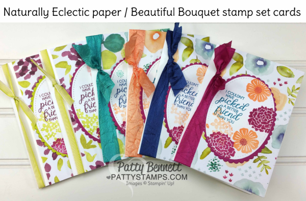 Handstamped note cards featuring Stampin' UP! Naturally Eclectic designer floral printed paper, Beautiful Bouquet stamp set, and ribbon accent. By Patty Bennett