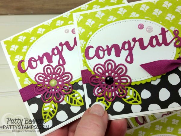 Sunshine Wishes congrats card idea featuring Support Ribbon & Sunshine Wishes framelits, with Whole Lot of Lovely designer paper. Cards for the Luv 2 Stamp group demonstrator title promotions by Patty Bennett