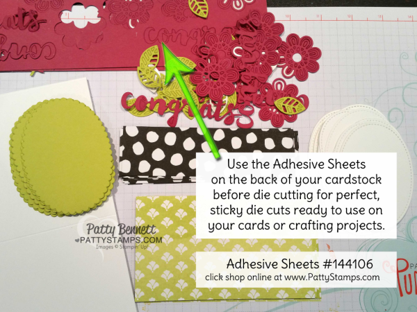 Use Stampin' Up! Adhesive Sheets on the back of your cardstock BEFORE die cutting images, then easily apply to your crafting project.