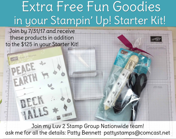 Join Stampin' UP! and the Luv 2 Stamp group and get these fun stamping supplies free in your Starter Kit. NEW Carols of Christmas stamp set free too!!