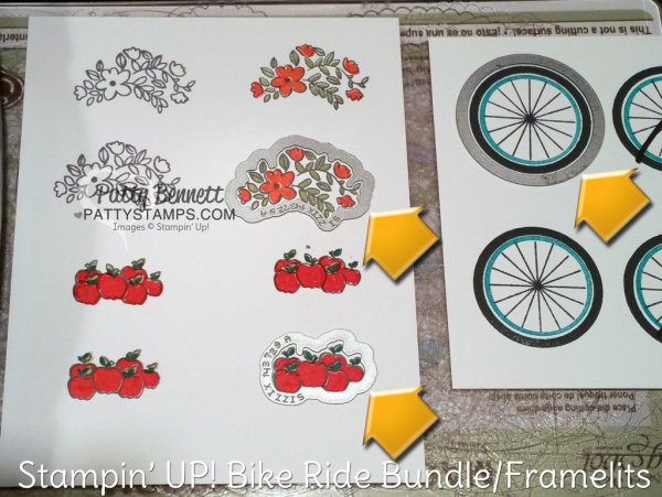 Stamped and Die cut pieces for Bike Ride 4th of July patrioit card, die cut doggie, sunflowers, bike and baskets. Card by Patty Bennett at pattystamps.com
