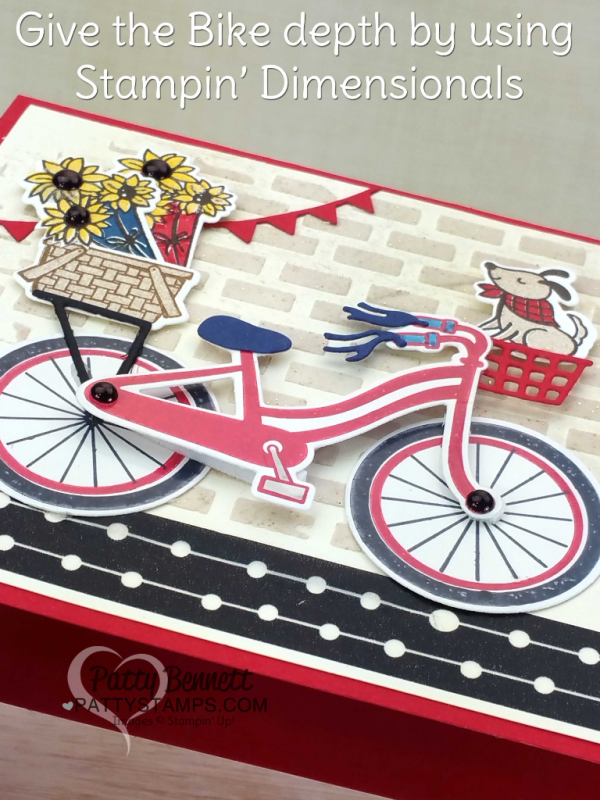 Bike Ride 4th of July patrioit card idea, featuring brick embossing paste background, die cut doggie, sunflowers, bike and baskets. Card by Patty Bennett at pattystamps.com