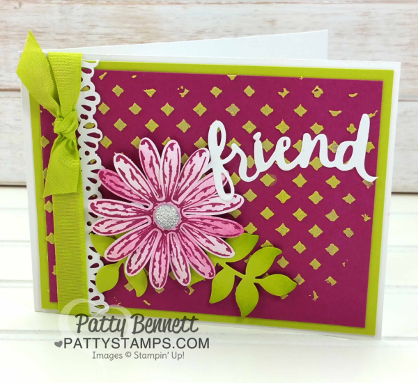 Stampin UP! embossing paste background card idea featuring Delightful Daisy punch and Lovely Words thinlit dies embellishment. by Patty Bennett
