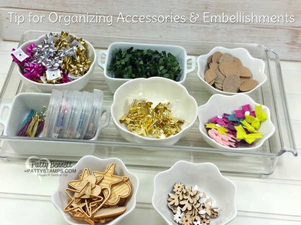 Craft room organization tip for accessories and embellishments - video tutorial with Patty Bennett from www.pattystamps.com