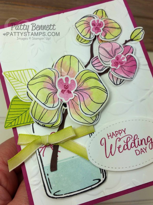 Climbing Orchid stamp set and Orchid Builder bundle from Stampin' Up! Wedding card idea with Layered Leaves embossing folder and Everyday Jars by Patty Bennett