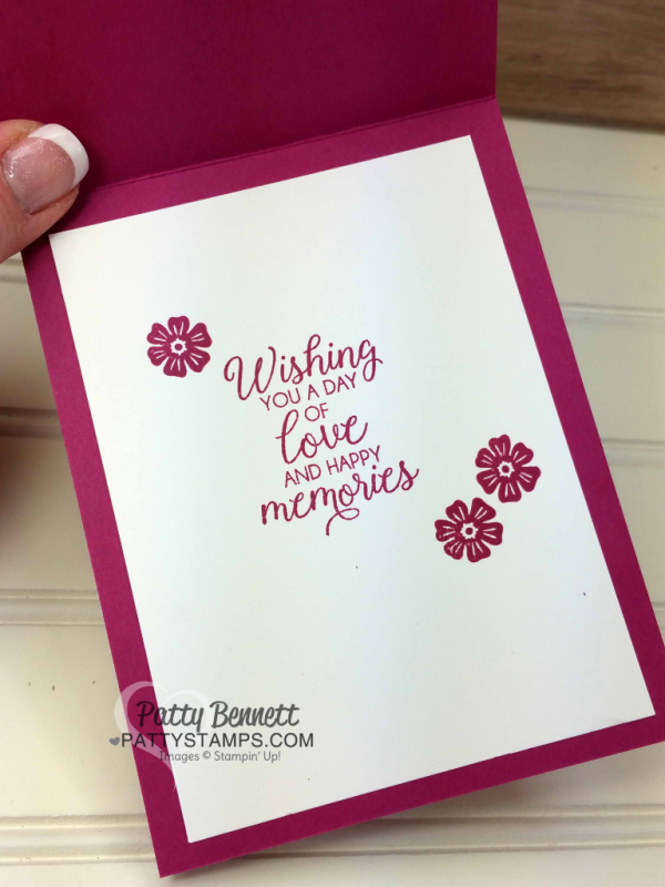 Climbing Orchid stamp set and Orchid Builder bundle from Stampin' Up! Wedding card idea with Beautiful Bouquet stamp set by Patty Bennett