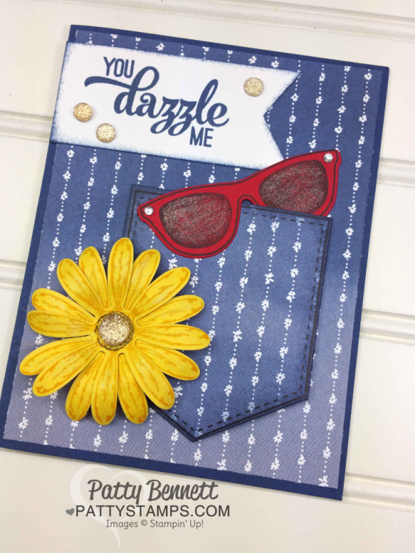 Pocketful of Sunshine pocket card with red sunglasses and bright yellow Daisy punch! Fun and happy card with Stampin' Up! Delightful Daisy designer paper!
