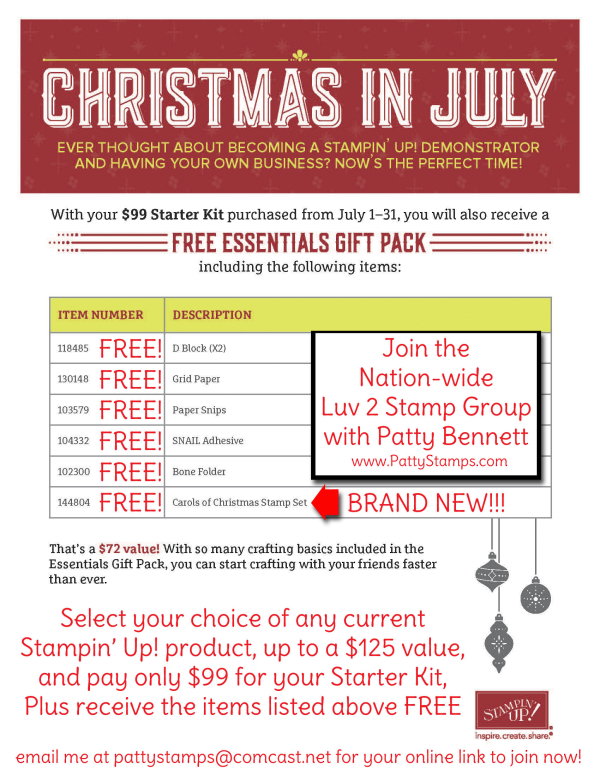 Christmas in july recruiting special stampin up pattystamps free with starter kit