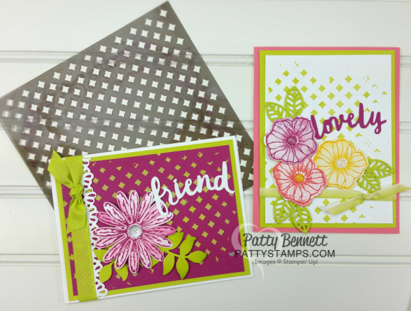 Stampin UP! embossing paste background card idea featuring Delightful Daisy punch and Oh So Eclectic stamp set. Lovely Words thinlit dies embellishment. by Patty Bennett
