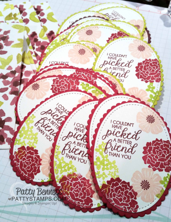 Stampin' Up! Beautiful Bouquet floral stamp set, stamped on Stitched Shape ovals and layered on Layering Oval Scallops. Stampin' Up! 2017-2019 In Colors featured.