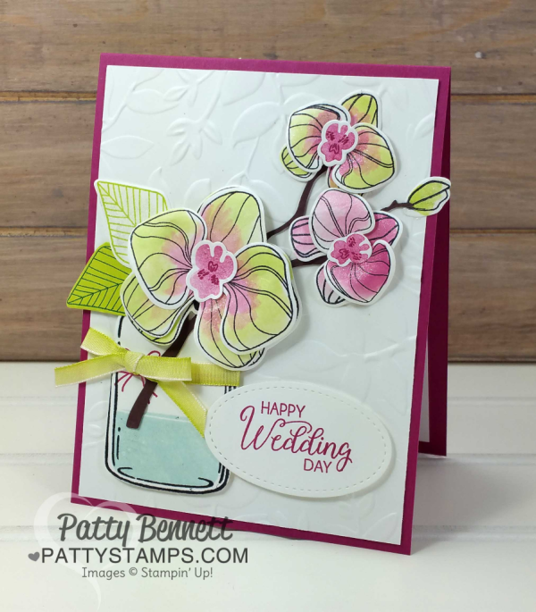 Climbing Orchid stamp set and Orchid Builder bundle from Stampin' Up! Wedding card idea with Layered Leaves embossing folder by Patty Bennett