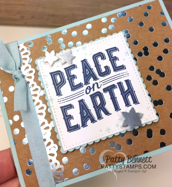 Carols of Christmas cards - bold and fun Foil Frenzy Stampin' Up! Specialty designer paper backgrounds. Deck the Halls & Peace on Earth stamped on Stitched Shape Framelits. By Patty Bennett and Cindee Wilkinson