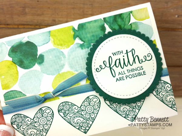 Ribbon of Courage note card idea featuring Stampin' UP! Naturally Eclectic paper, and Tranquil Tide hearts, by Patty Bennett