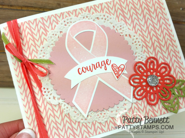 Ribbon of Courage card idea featuring Stampin' Up! Bundle of Love paper, and pink breast cancer ribbon, by Patty Bennett