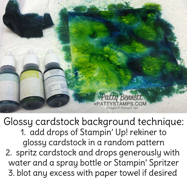 How to make the Glossy Background with reinker technique for card backgrounds featuring Stampin' Up! supplies.