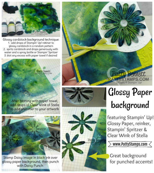Tutorial: how to create a glossy paper & reinker background for your cards or diy crafting projects with Stampin' UP! supplies.