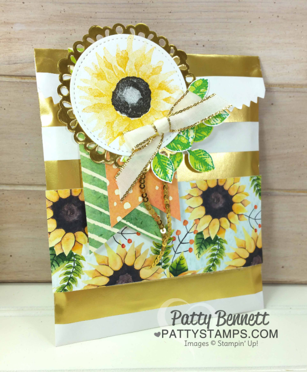 DIY Gift Bag Idea featuring Stampin' UP! Gold Striped Gift Bag decorated with 2017 Holiday Catalog Painted Harvest Suite paper and Painted Autumn sunflower stamp, by Patty Bennett