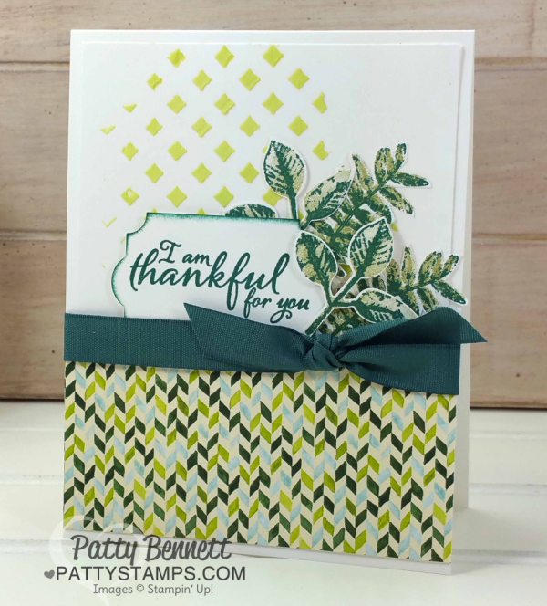 Thankful card featuring Stampin' UP! Embossing Paste and Painted Autumn paper. Stamped and punched leaves from the Painted Harvest stamp set, by Patty Bennett
