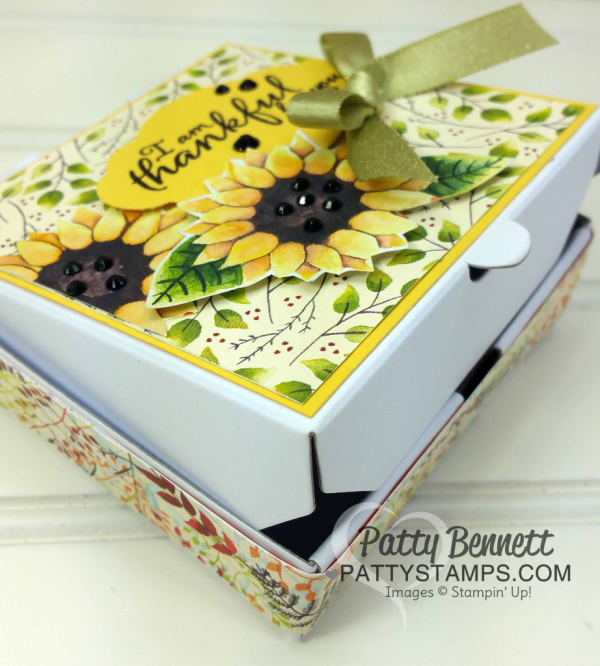 Mini Pizza Box - pg 44 Holiday Catalog - decorated with Stampin' UP! Painted Autumn designer paper and black rhinestones, by Patty Bennett