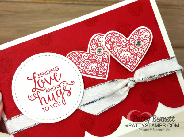 Ribbon of Courage card idea featuring Red Scallops die cut from Seasonal Layers thinlits. Card Idea by Patty Bennett