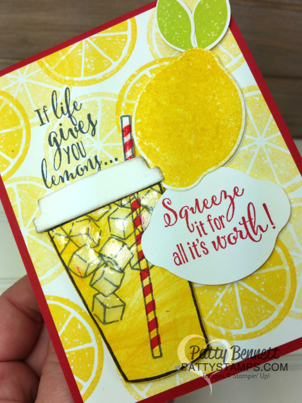 """Lemonade cup card featuring Stampin' Up! Lemon Zest and Coffee Cafe bundles.  Marbled stamp background is great for """"swirling"""" lemonade in the cup. By Patty Bennett"""