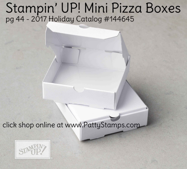 144645 Mini Pizza Box from Stampin' UP! 2017 Holiday catalog. Click shop online at www.pattystamps.com