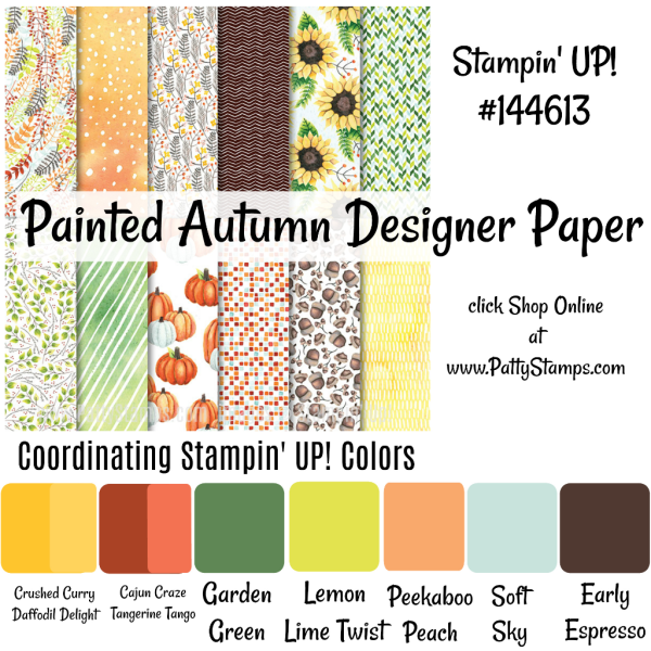 144613 Painted Autumn designer paper from Stampin Up - click shop online at www.pattystamps.com