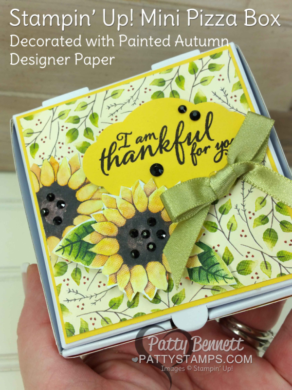 Mini Pizza Box - pg 44 Holiday Catalog - decorated with Stampin' UP! Painted Autumn designer paper, by Patty Bennett