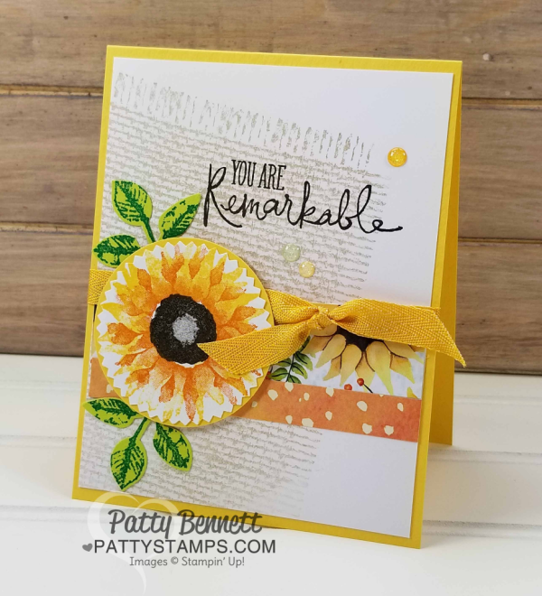 Painted Autumn stamped Sunflower card featuring Stampin' UP! burlap background stamp and Remarkable You set. by Patty Bennett