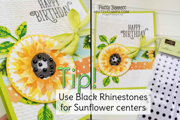 Tip! use Black Rhinestones for sunflower centers!!  Painted Autumn stamped Sunflower card featuring Stampin' UP! burlap background stamp and Happy Birthday Gorgeous set. by Patty Bennett