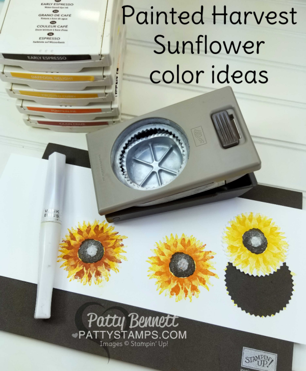Tips for how to stamp the Painted Harvest sunflower image from Stampin' UP!  by Patty Bennett