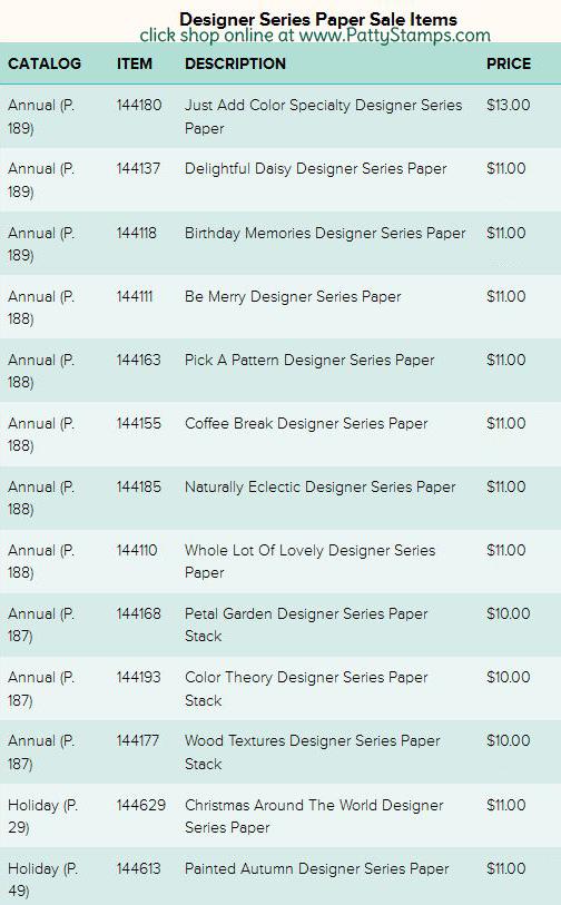 Designer Series Paper Sale buy 3 get 1 free Stampin Up! sale  click shop online at www.PattyStamps.com