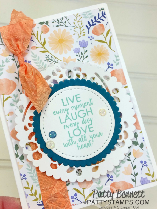 """Delightful Daisy Stampin' UP! designer paper flower note card idea by Patty Bennett. Make your own """"doily"""" by die cutting the Window Box framelit die and then using the Scallop from the Layering Circle die!"""